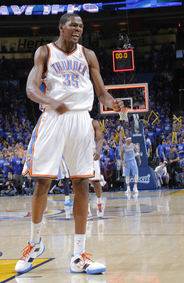 Oklahoma City's Kevin Durant (35) reacts at the end of the third quarter in  the 107-103 win over Denver during the first round NBA playoff game between the Oklahoma City Thunder and the Denver Nuggets on Sunday, April 17, 2011, in Oklahoma City, Okla. Photo by Chris Landsberger, The Oklahoman