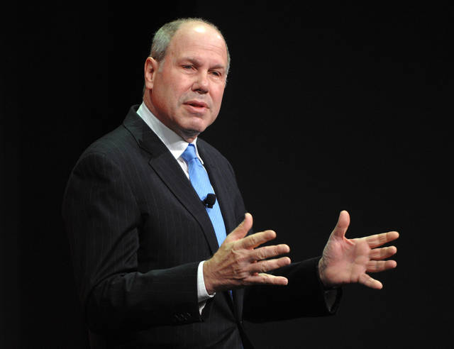 FILE - In this Thursday, March. 12, 2009, file photo, Michael D. Eisner speaks at the the Nickelodeon 2009 upfront presentation, in New York. Former Disney CEO Michael Eisner is getting back in the movie business. The 70-year-old said Tuesday, Nov. 13, 2012, that the media company he founded, The Tornante Company, will finance films that will be distributed by Comcast Corp.'s Universal Pictures. (AP Photo/Peter Kramer, File)
