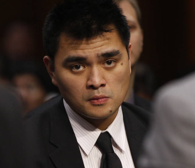 "FILE - In this June 28, 2011, file photo, Pulitzer Prize winning journalist and immigration reform activist Jose Antonio Vargas, listens as Homeland Security Secretary Janet Napolitano and Education Secretary Arne Duncan testify at a hearing regarding immigration reform and the DREAM Act on Capitol Hill in Washington. Legal immigrants living in the U.S. now surpass in number those who entered the country illegally, reflecting a dwindling inflow of Latino migrants that is creating political pressure for an immigration fix that gives legal status to the millions of undocumented already here. ""The priority now is to push a vigorous debate about the undocumented people already here. We want to become citizens and not face the threat of deportation or be treated as second class,"" said Vargas. (AP Photo/Charles Dharapak, File)"
