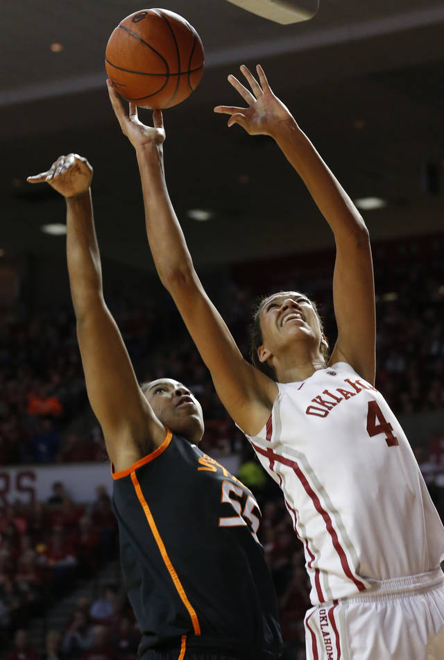 Oklahoma State's Liz Donohoe (4) shoots as Oklahoma State's LaShawn Jones (55) defends during the women's Bedlam basketball game between Oklahoma State University and Oklahoma at the Lloyd Noble Center in Norman, Okla., Sunday, Feb. 10, 2013.Photo by Sarah Phipps, The Oklahoman