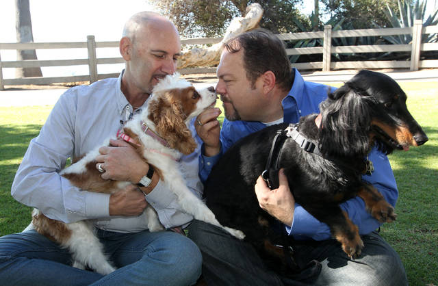 This Feb. 23, 2012 photo shows Steven May, left, holding his dog, Winnie, sitting with his attorney, David Pisarra, holding his dog, Dudley, in Santa Monica, Calif. Custody cases involving pets are on the rise across the country. In a 2006 survey by the 1,600-member American Academy of Matrimonial Lawyers, a quarter of respondents said pet custody cases had increased noticeably since 2001. (AP Photo/Nick Ut)