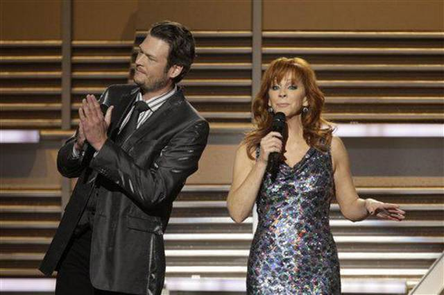 Oklahoma country music stars Blake Shelton and Reba McEntire co-hosted the Academy of Country Music Awards on April 3. They will host Wednesday and Thursday a pair of benefit concerts to raise funds for Atoka County tornado relief efforts. AP photo <strong>Julie Jacobson</strong>