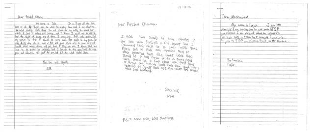 These letters, provided by the White House, from children, from left, Julia, 11, of Washington; Grant, 8, of Maryland, and Taejah, 10 of Georgia; ask President Barack Obama to change gun laws. On Wednesday, when the president makes his long-awaited announcement of proposals to reduce gun violence, he will be joined by Grant, Tajeah and other children from across the U.S. who expressed their concerns about gun violence and school safety to the one person they think can make a difference: the president. (AP Photo/White House)   ORG XMIT: WX104
