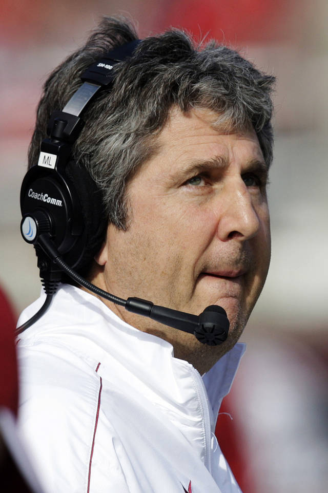FILE - This Nov. 3, 2012 file photo shows Washington State head coach Mike Leach watching the second quarter of an NCAA college football game against Utah, in Salt Lake City. A star receiver's allegations that he has been physically and emotionally abused by coaches have roiled Washington State, and the school president has called for an investigation of Marquess Wilson's complaints against new coach Mike Leach and his staff. (AP Photo/Rick Bowmer, File)