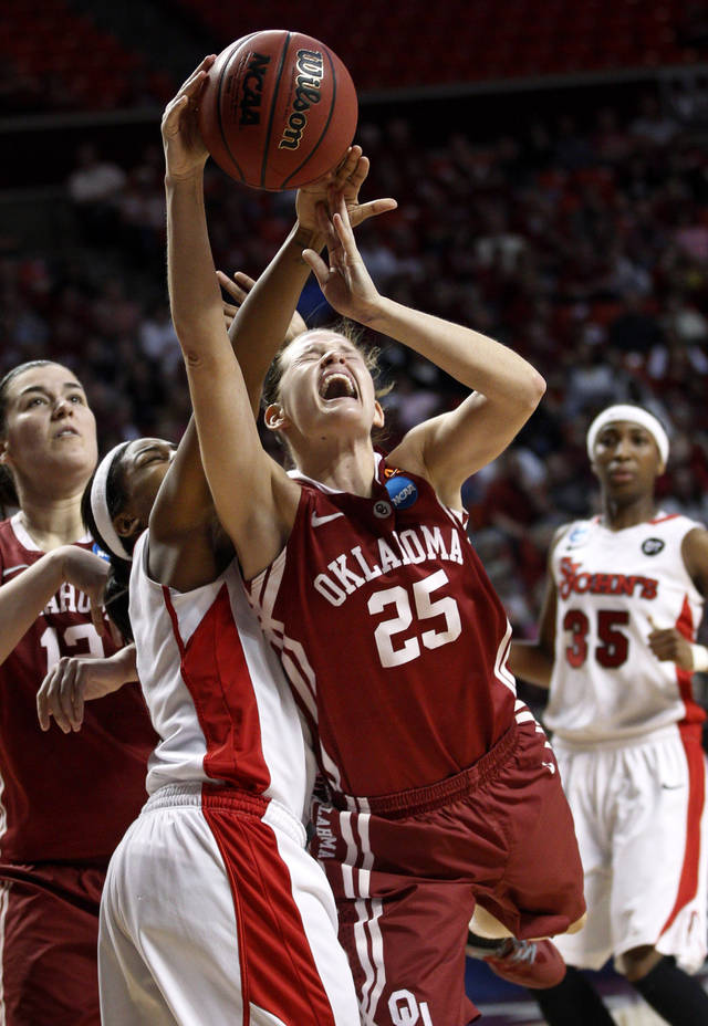 Oklahoma guard Whitney Hand (25) is fouled by St. John's guard Nadirah McKenith, left, as she shoots in the second half of an NCAA tournament second-round women's college basketball game in Norman, Okla., Tuesday, March 20, 2012. St. Johns won 74-70. (AP Photo/Sue Ogrocki)