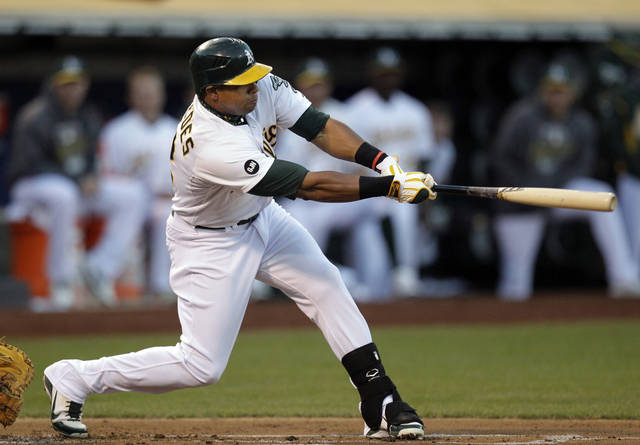 Oakland Athletics' Yoenis Cespedes swings on a single that scored Coco Crisp in the first inning of Game 3 of the Athletics' American League division baseball series against the Detroit Tigers in Oakland, Calif., Tuesday, Oct. 9, 2012. (AP Photo/Ben Margot)