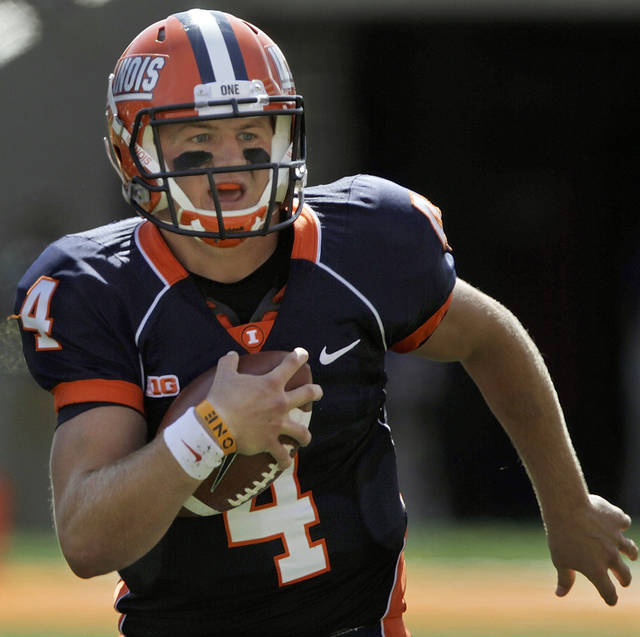 Illinois quarterback Reilly O'Toole (4) scrambles during the first half of their NCAA college football game against Charleston Southern, Saturday, Sept. 15, 2012, in Champaign, Ill. (AP Photo/Seth Perlman)
