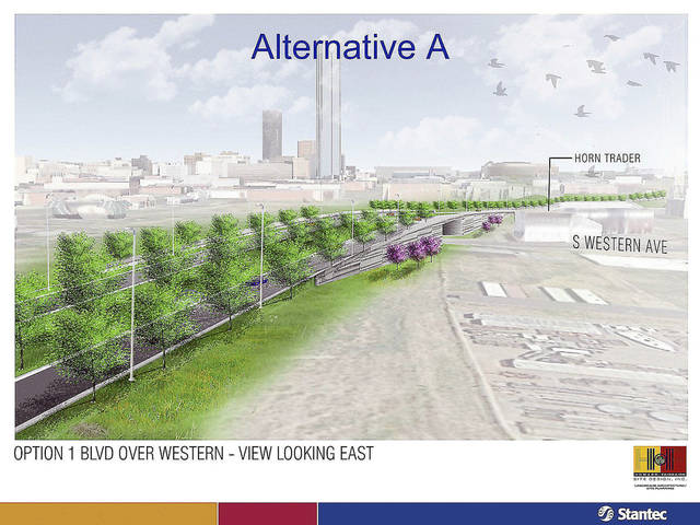 DRAWING / RENDERING: The Oklahoma City city council will vote Tuesday on a revised plan for the downtown boulevard that would navigate the Western-Classen-Reno corridor with a shorter overpass than was previously proposed. Provided by the city of Oklahoma City. <strong>PROVIDED</strong>