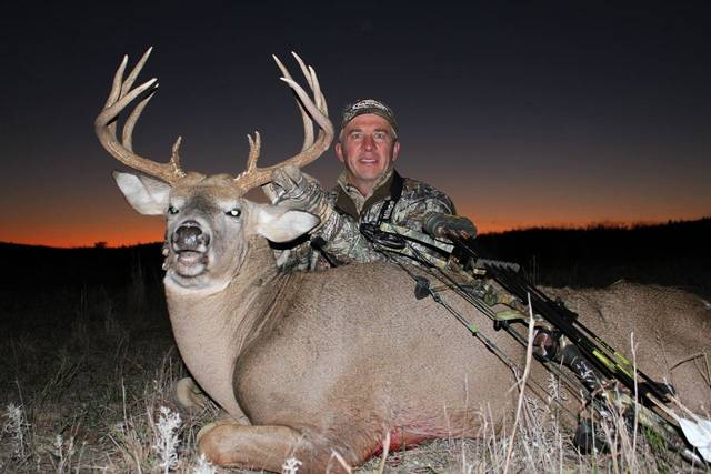 David Blanton of Realtree Outdoors arrowed this big buck last year in Kansas. Blanton will be speaking in Oklahoma City Tuesday night at the Beast Feast at Crossings Community Church.Photo provided