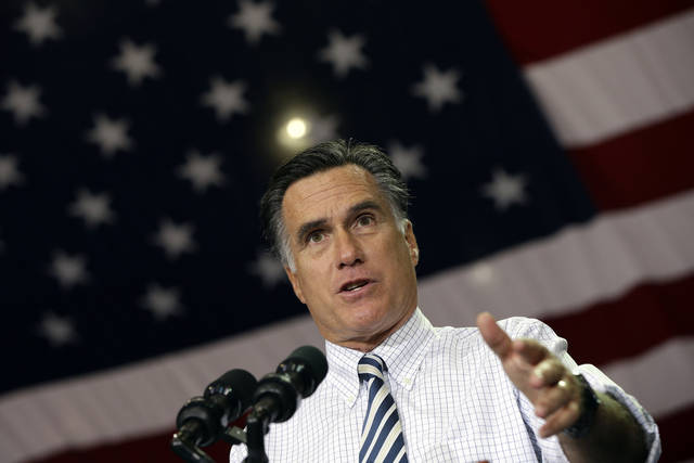 Republican presidential candidate and former Massachusetts Gov. Mitt Romney campaigns at the International Exposition Center in Cleveland, Sunday, Nov. 4, 2012. (AP Photo/Charles Dharapak)