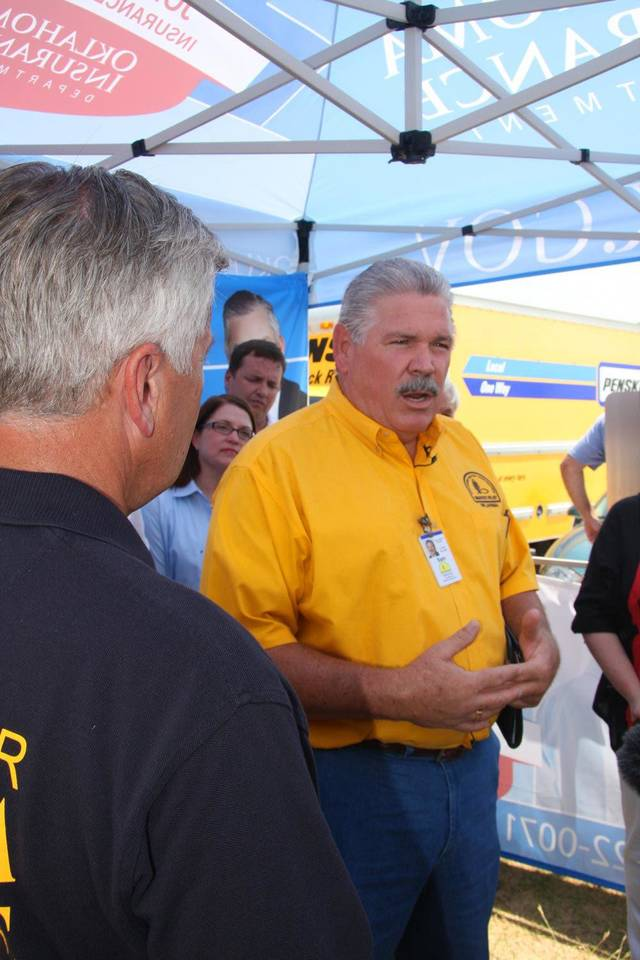 In this August 2012 photo, Sam Porter, director of Oklahoma Baptist Disaster Relief, talks to volunteers helping victims of the Luther wildfires. Photo provided <strong>PROVIDED</strong>