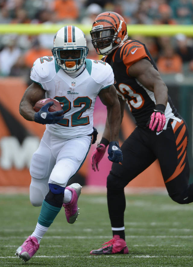 Miami Dolphins running back Reggie Bush (22) runs past Cincinnati Bengals defensive end Michael Johnson (93) in the second half of an NFL football game, Sunday, Oct. 7, 2012, in Cincinnati. (AP Photo/Michael Keating)