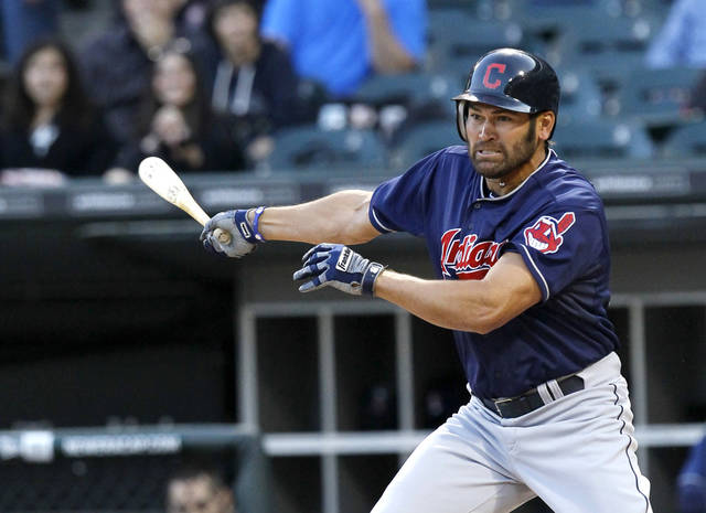 Cleveland Indians' Johnny Damon takes a swing at a pitch from Chicago White Sox starting pitcher Philip Humber, during the first inning of a baseball game, Wednesday, May 2, 2012, in Chicago. Damon struck out his first time at bat and grounded out to first his second. (AP Photo/Charles Rex Arbogast)