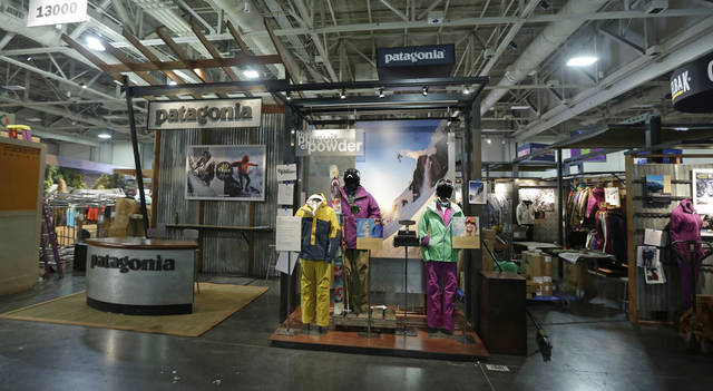 The Patagonia display is shown at the Outdoor Retailer show Tuesday, Jan. 22, 2013, in Salt Lake City. The Outdoor Retailer show, which kicks off this Wednesday at the Salt Palace Convention Center, draws more than 25,000 people and pours more than $40 million into Utah�s economy every year. One of the world's largest outdoor gear trade shows will remain in Salt Lake City at least through 2016. The shows were previously contracted to stay through 2014. (AP Photo/Rick Bowmer)