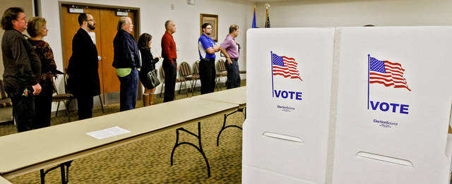 Voter wait in line to cast their vote during election day on Tuesday, Nov. 6, 2012, in Yukon, Oklahoma. Photo by Chris Landsberger, The Oklahoman