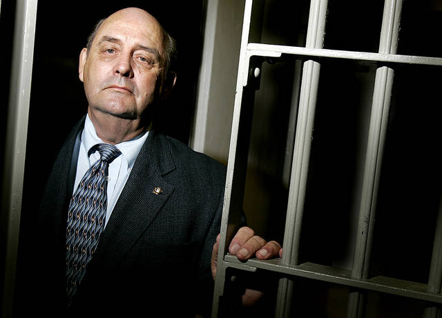 Norman, Okla. - May 19, 2005. . Cleveland County Sheriff DeWayne Beggs stands at the door at the Cleveland County jail in Norman. By Ty Russell/The Oklahoman