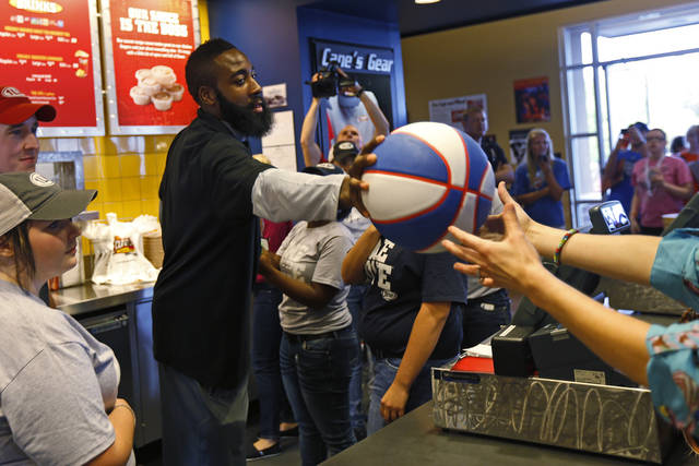 James Harden of the Oklahoma City Thunder brings greets fans at the new Raising Cane's in Edmond, Thursday, September 27, 2012. Photo by Bryan Terry, The Oklahoman