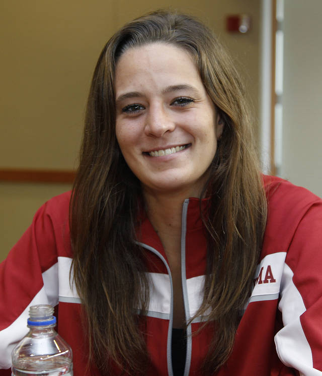 Oklahoma guard Maddie Manning smiles during an NCAA basketball media day in Norman, Okla., Monday, Oct. 15, 2012. (AP Photo/Sue Ogrocki) ORG XMIT: NYOTK