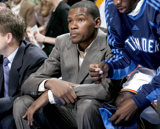 Oklahoma City&amp;#8217;s Kevin Durant sits on the bench during the Thunder&amp;#8217;s loss to the Magic on Wednesday. PHOTO BY BRYAN TERRY, THE OKLAHOMAN