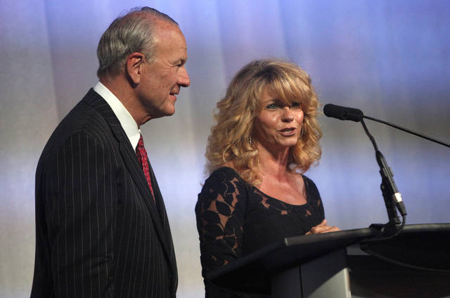 Barry Switzer and Sherri Coale speak during the Sooner Spectacular, Saturday, May 14, 2011, at the State Fair Park in Oklahoma City. Photo by Sarah Phipps, The Oklahoman