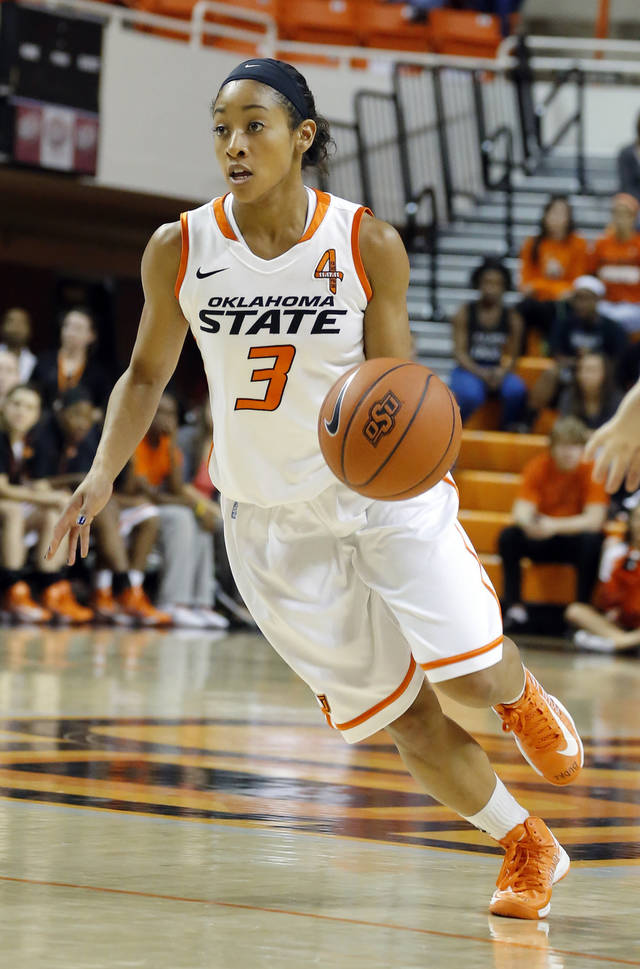 Oklahoma State's Tiffany Bias (3) during the women's college basketball game between Oklahoma State and Cal Poly at  Gallagher-Iba Arena in Stillwater, Okla., Friday, Nov. 9, 2012. Photo by Sarah Phipps, The Oklahoman