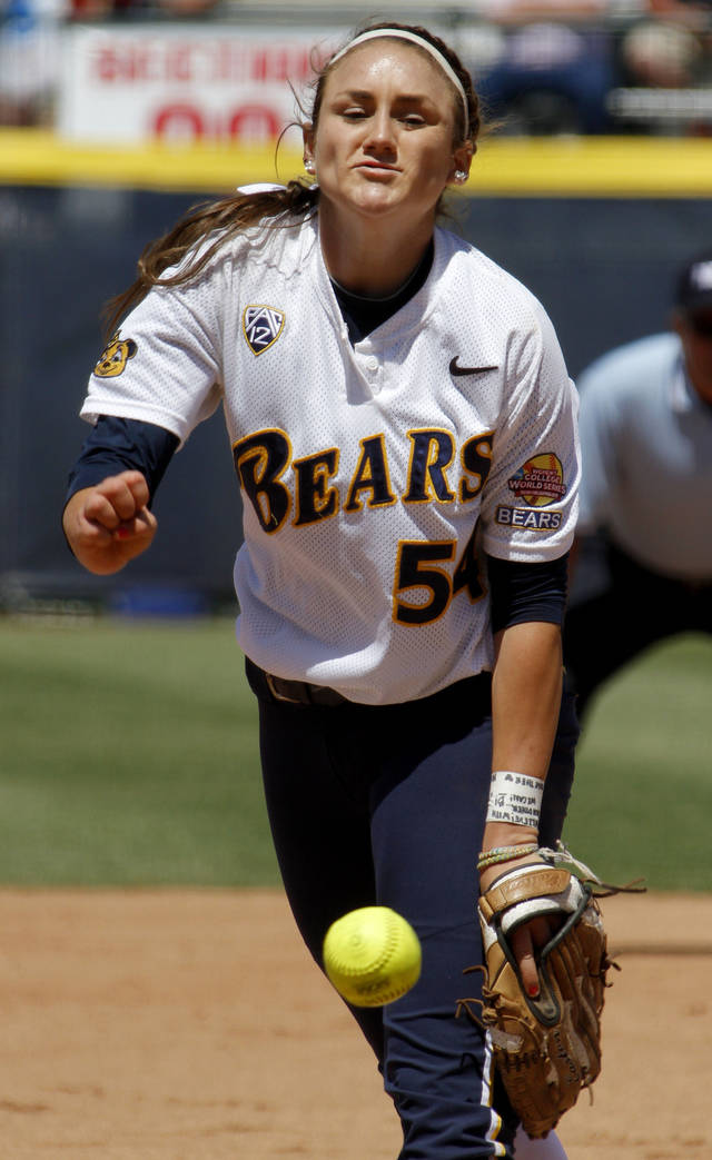 California's Jolene Henderson pitches during the Bears' victory over LSU on Thursday. Photo by Bryan Terry, The Oklahoman
