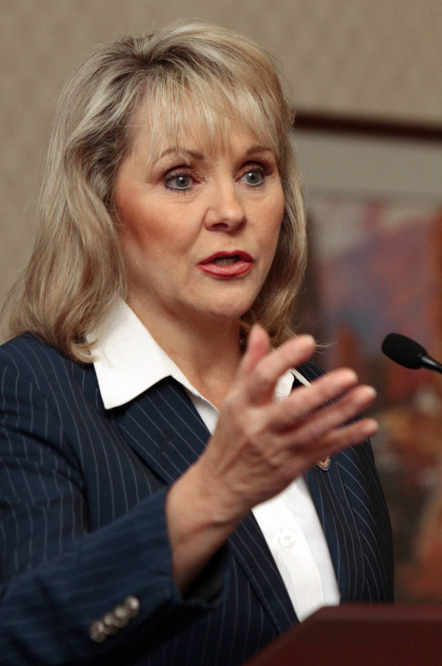 Oklahoma Governor Mary Fallin speaks at the Oklahoma Press Association Convention on Friday, June 8, 2012, in Midwest City, Okla.     Photo by Steve Sisney, The Oklahoman