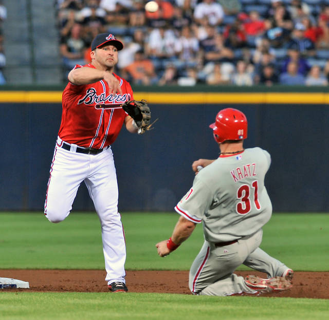 Atlanta Braves second baseman Dan Uggla, left, turns a double play on Philadelphia Phillies' Erik Kratz (31) off the bat of Phillies' Michael Martinez during the second inning of a baseball game on Friday, Aug. 31, 2012, at Turner Field in Atlanta. (AP Photo/Gregory Smith)