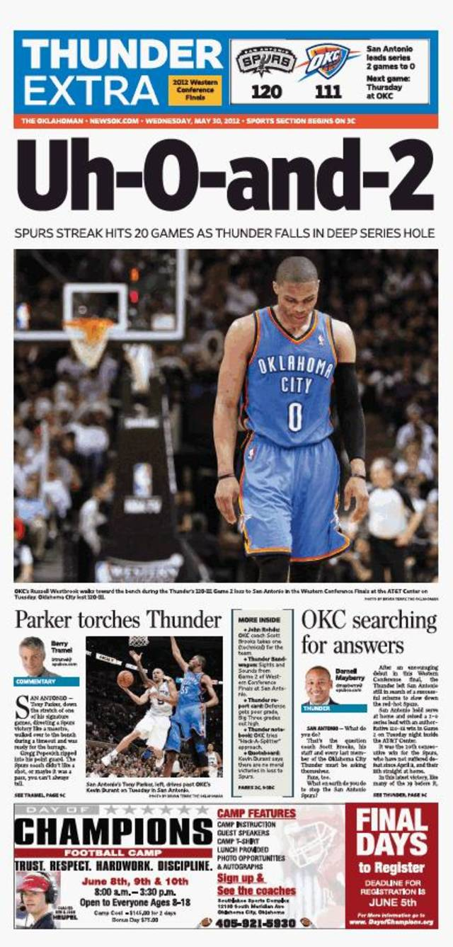 Game 2: Thunder-Spurs, May 29, 2012