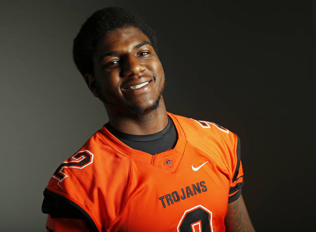 All-State and Little All-City high school football player Deondre Clark of Douglass poses for a photo in Oklahoma City Monday, Dec. 17, 2012. Photo by Nate Billings, The Oklahoman