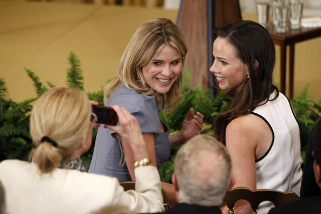 FILE - In the May 31, 2012 photo, President George W. Bush's daughters Jenna and Barbara have their photo taken in the East Room at the White House in Washington. Barbara Pierce Bush and Jenna Bush Hager along with Steve Ford and Lynda Johnson Robb will talk about life in the White House as part of a conference on first ladies that will be held at the Lyndon B. Johnson Presidential Library in Austin. (AP Photo/Charles Dharapak, File)