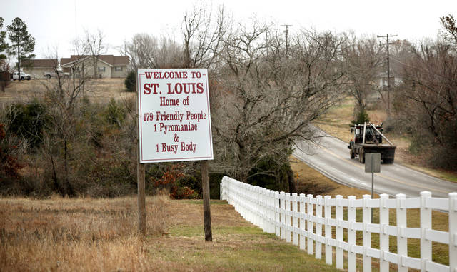 State highway at west entrance of the tiny Pottawatomie community of St. Louis, on Monday, Dec. 19, 2011.  This post office is included on a list released recently of postal facilities  being considered for closing. Photo by Jim Beckel, The Oklahoman