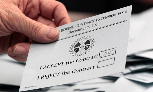 Ballots are sorted during counting on a new labor contract at a Boeing Machinists Union hall Wednesday, Dec. 7, 2011 in Seattle. Boeing machinists voted Wednesday on a new four-year labor contract that would keep production of a new version of the 737 airplane in Washington state and give Boeing years of stable union relations. (AP Photo/Elaine Thompson)