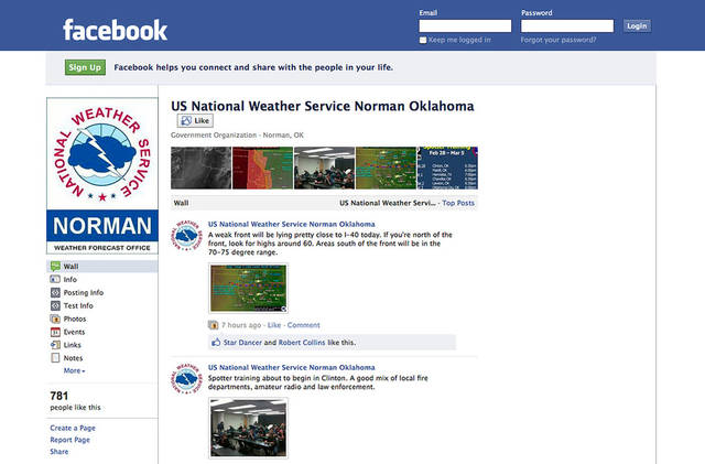 A Facebook screen image shows how National Weather Service forecast offices use social media.