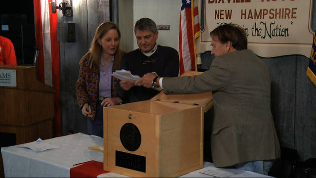 In this still frame made from video, ballots are removed from the ballot box to be counted in Dixville Notch, N.H., Tuesday, Nov. 6, 2012, as they cast the first Election Day votes in the nation. After 43 seconds of voting, President Barack Obama and Republican Mitt Romney each had 5 votes in Dixville Notch. (AP Photo/APTN) ORG XMIT: WX142