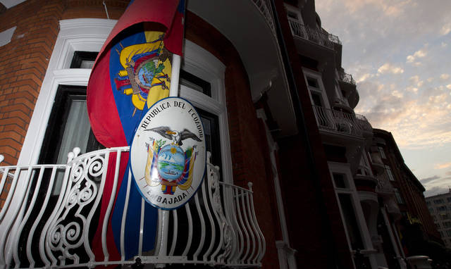 A general view of the Embassy of Ecuador in London Tuesday, June 19, 2012. Embattled WikiLeaks chief Julian Assange took refuge Tuesday in Ecuador's embassy in London and is seeking political asylum, his organization and the South American nation's foreign minister said. Foreign Minister Ricardo Patino said the leftist government of President Rafael Correa was weighing the request. He did not indicate when a decision might be made. (AP Photo/Alastair Grant)