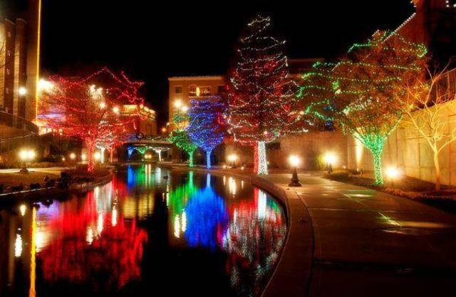 Part of Downtown in December, OneMain Financial?s Bricktown Canal Lights will illuminate the entertainment district Friday-Jan. 1. On designated evenings during December, people can take free Water Taxi rides on the canal, courtesy of the Downtown Business Improvement District. Photo provided. <strong></strong>