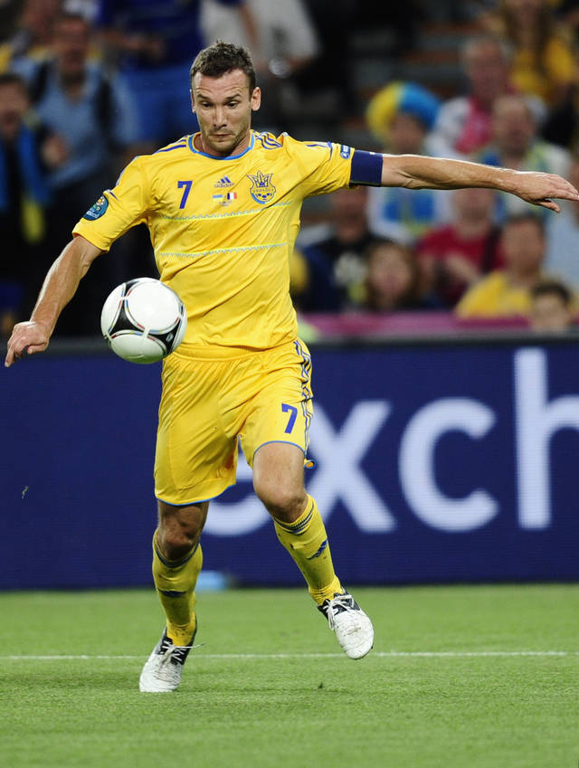 Ukraine's Andriy Shevchenko fires a shot at goal during the Euro 2012 soccer championship Group D match between Ukraine and France in Donetsk, Ukraine, Friday, June 15, 2012. (AP Photo/Manu Fernandez)