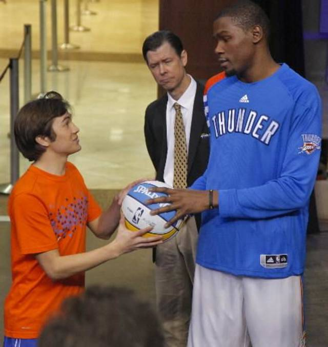 Oklahoma City Thunder's Kevin Durant works with actors Taylor Gray, left, and Timothy Fall on the set of his movie 'Thunderstruck' inside the Chesapeake Energy Arena on Tuesday, Jan. 24, 2012, in Oklahoma City, Okla. Photo by Chris Landsberger, The Oklahoman