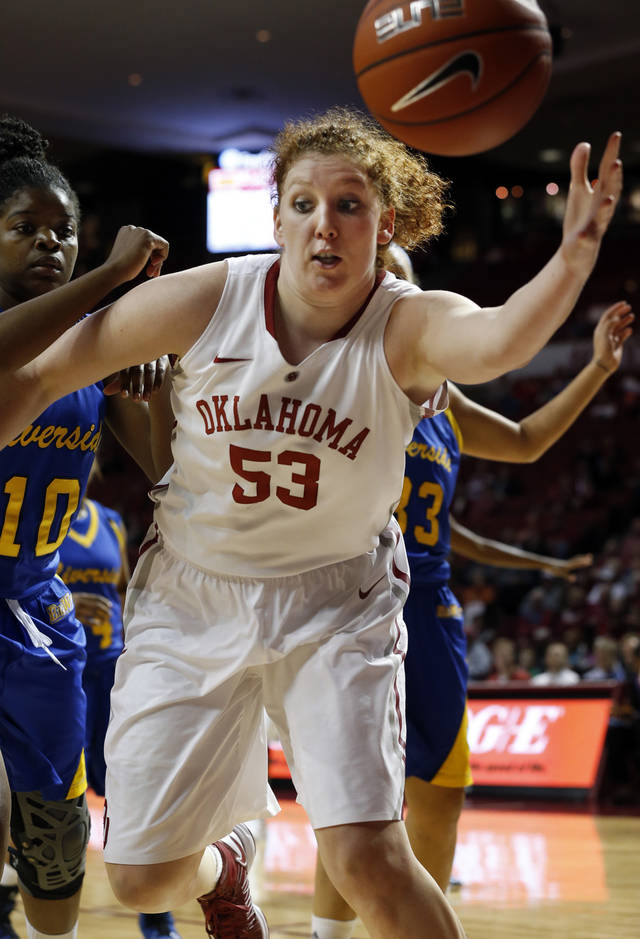 Oklahoma&#039;s Joanna McFarland (53) reaches for the ball during the second half as the University of Oklahoma Sooners (OU) play the Riverside Highlanders in NCAA, women&#039;s college basketball at The Lloyd Noble Center on Thursday, Dec. 20, 2012  in Norman, Okla. Photo by Steve Sisney, The Oklahoman