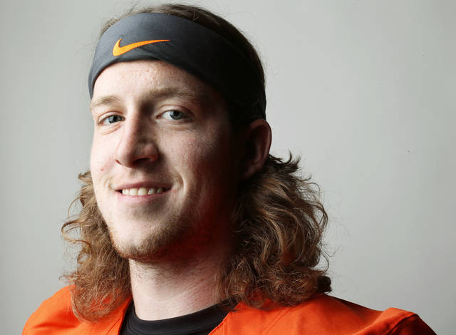 OKLAHOMA STATE UNIVERSITY / COLLEGE FOOTBALL: Oklahoma State's Quinn Sharp (13) poses for a photo during media day for the OSU football team at Gallagher-Iba Arena in Stillwater, Okla., Saturday, Aug. 4, 2012. Photo by Nate Billings, The Oklahoman