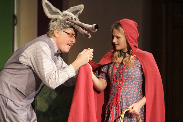 "The Wolf, played by Jon Womastek, talks to Red Riding Hood, played by Sophie Moshofsky, in the Oklahoma Children's Theatre production of ""Red vs. the Wolf"", at the Children's Center for the Arts in Oklahoma City, OK, Saturday, March 10, 2012,  By Paul Hellstern, The Oklahoman"