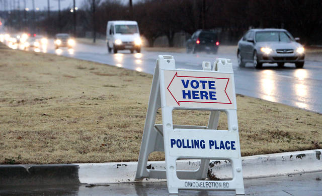 A voting sign sits outside a polling place on Feb. 12. Photo By David McDaniel, The Oklahoman Archives