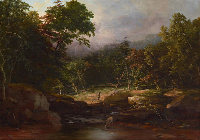 """This photo provided by the Dallas Museum of Art shows George Inness, """"In the Woods."""" A curator at the Dallas Museum of Art has discovered the early work Inness in the institution's collection. The painting that was previously attributed to another artist will debut Friday at the museum. (AP Photo/Dallas Museum of Art)"""