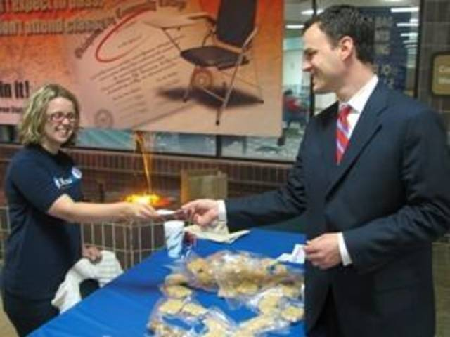Iraq war veteran, Miranda Norman and Senator Andrew Rice at the OCCC Bake Sale for Body Armor.<br/><b>Community Photo By:</b> Karina Henderson<br/><b>Submitted By:</b> darla, Oklahoma City