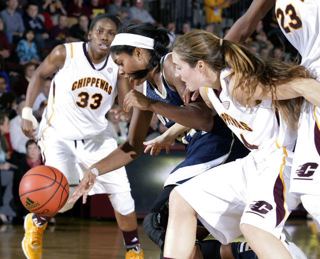 Notre Dame's Ariel Braker, center, and Central Michigan's Niki DiGuilio, right, and Brandie Baker (33) vie for the ball during the second half of an NCAA college basketball game on Thursday, Nov. 29, 2012, in Mount Pleasant, Mich. Notre Dame won 72-63. (AP Photo/Al Goldis)
