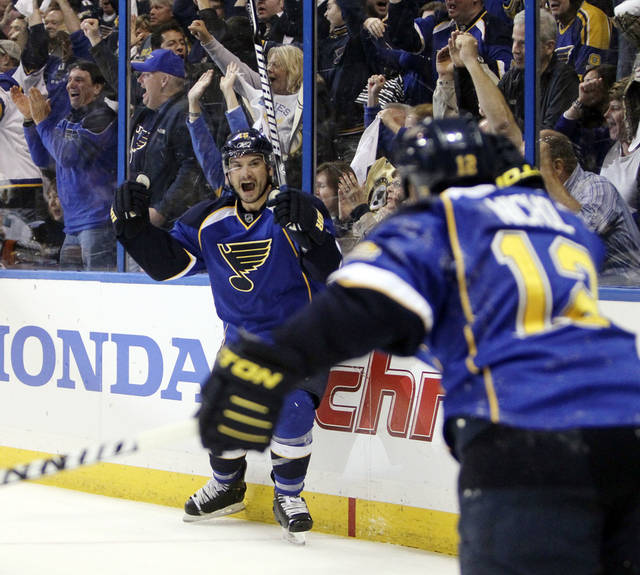 St. Louis Blues right wing Jamie Langenbrunner, left, celebrates after scoring on an assist from Scott Nichol, right, against the San Jose Sharks during the third period in Game 5 of an NHL Stanley Cup first-round hockey playoff series, Saturday, April 21, 2012, in St. Louis. The Blues won 3-1 and won the series 4-1. (AP Photo/St. Louis Post-Dispatch, Chris Lee) EDWARDSVILLE INTELLIGENCER OUT; THE ALTON TELEGRAPH OUT