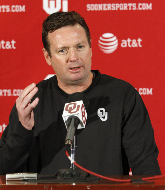 "Oklahoma coach Bob Stoops called his family's coaching success ""pretty amazing,"" and credited it to his parents. PHOTO BY STEVE SISNEY, THE OKLAHOMAN"