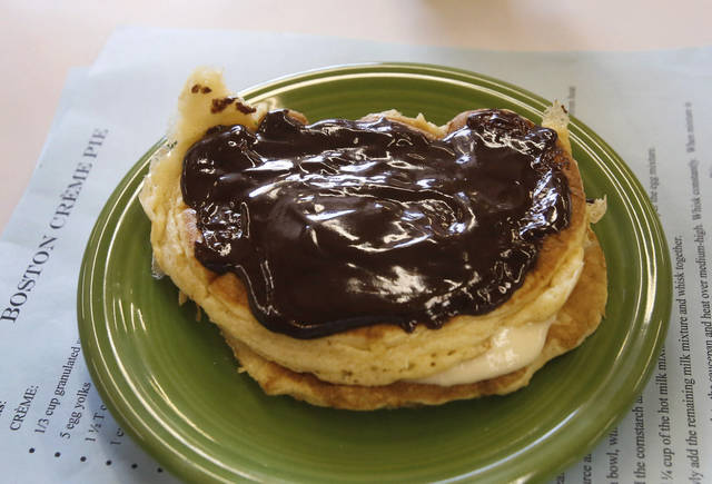 Boston Cream Pie Pancakes prepared by James McAffrey, 9, in the Shawnee Mills&#039;  Kids&#039; Pancakes, Flapjacks and Griddle Cakes Contest at the Oklahoma State Fair on Saturday, Sep. 22, 2012. Photo by Jim Beckel, The Oklahoman.