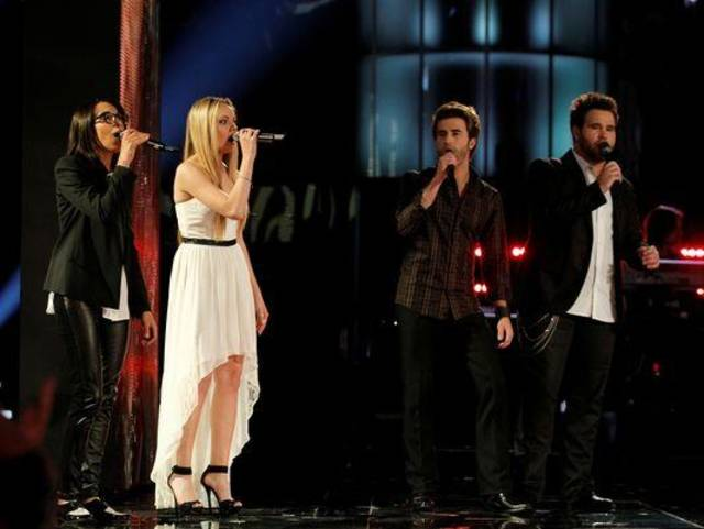 """From left, Michelle Chamuel, winner Danielle Bradbery and Muskogee musicians Colton and Zach Swon of The Swon Brothers perform on the June 18 Season 4 finale of """"The Voice."""" NBC photo"""